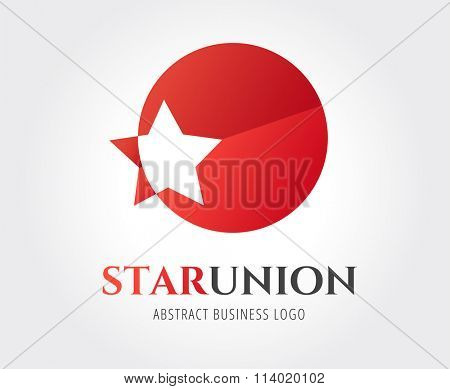 Star logo icon template. Leader, winner boss, rank, medal or sport logo. Competition, sky symbol and astrology, military, troops, web studio. Logo vector. Logo icon