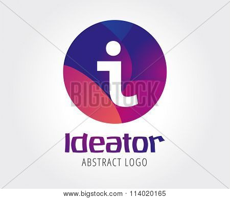 Info abstract logo template. Information, place icon, creative logo, place marker and documents simbol, i letter. Company logo. Stock illustration