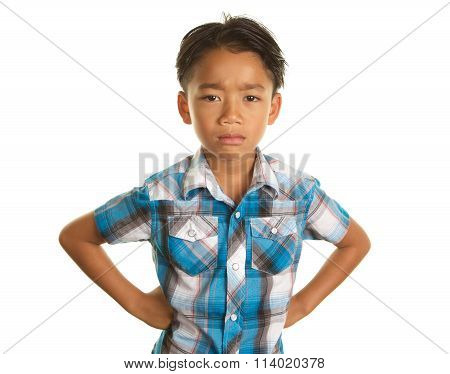 Unhappy Filipino Boy on White Background