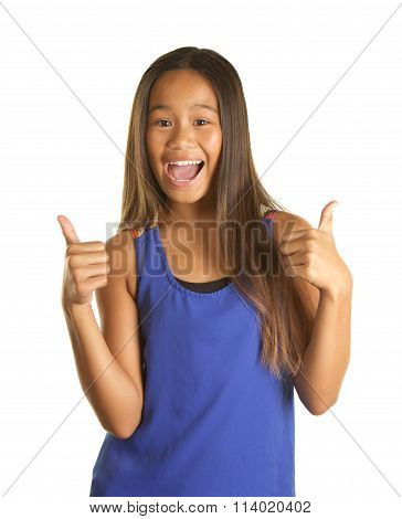 Cute Filipino Girl Giving Thumbs Up on White Background