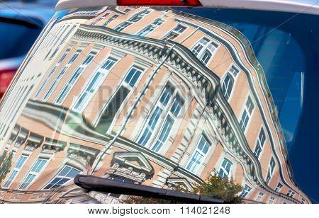 houses in car window