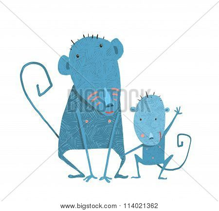 Funny Kids Monkey Characters Mother and Child