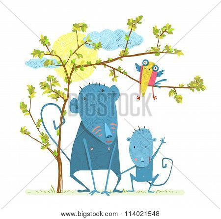 Monkey Characters Mother and Child in the Wild with Tree