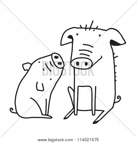 Cute Pigs Outline Funny Illustration for Kids Mom and Child