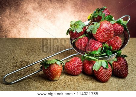 Still Life Strawberry Light Burst Background