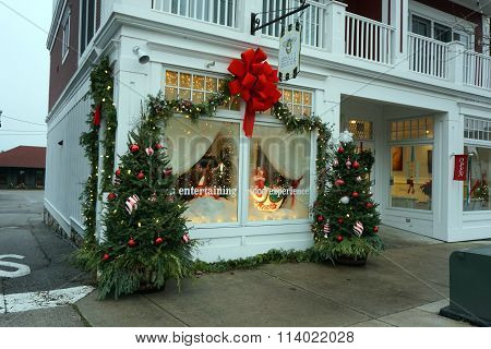 Small Batch Restaurant Decorated for Christmas