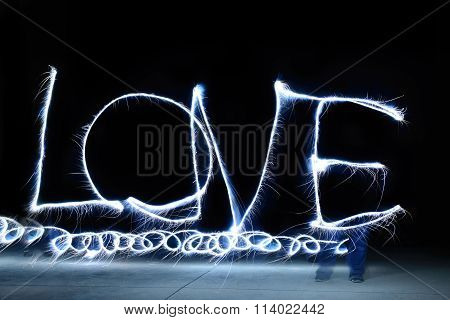 Light Painting I Love You, Long Exposure