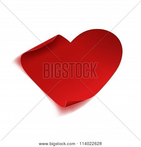 Red curved paper heart for Valentine's Day