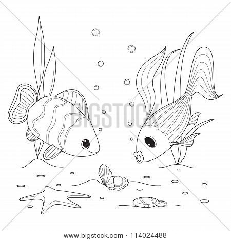 Shell with a pearl, fish swimming around, starfish and seaweed grow. Coloring page