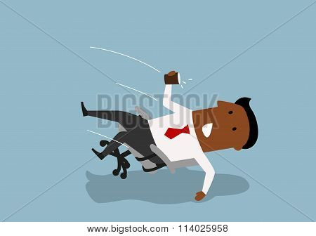 Black businessman fall backwards in an chair