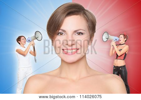concept, angel and demon. portrait of smiling girl. good and evil, screaming in speaker