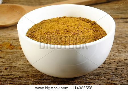 Garam Masala Powder In White Bowl
