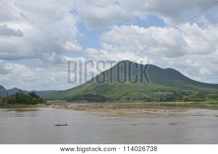 fishery rowboat on Mekong river in Thailand