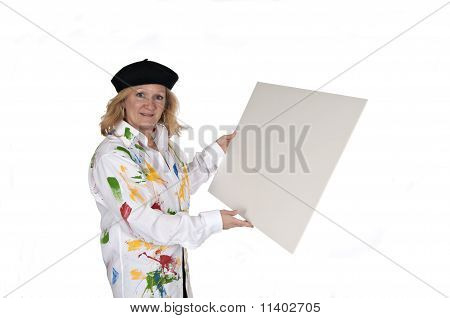 Woman In Hat Holding Poster Board