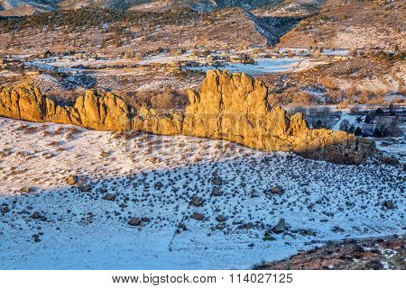 Devils Backbone rock formation at foothills of Rocky Mountains in northern Colorado near Loveland, winter morning scenery