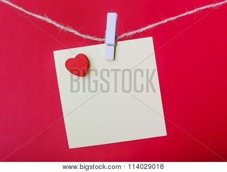 Valentine Note On Red Background