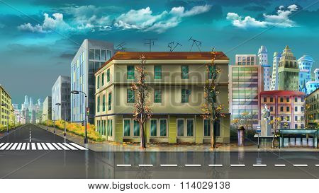 Cityscape after summer rain
