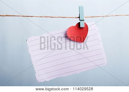 Blank Note Paper With Red Heart