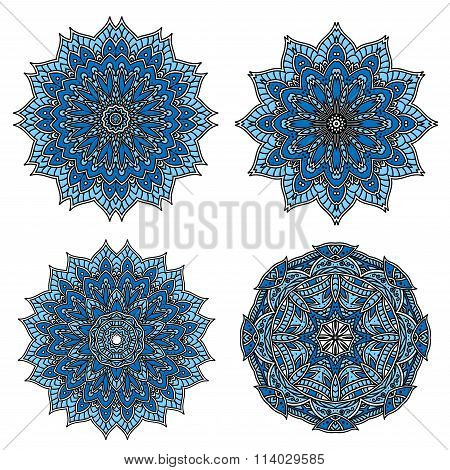 Circular patterns of blue star shaped flowers