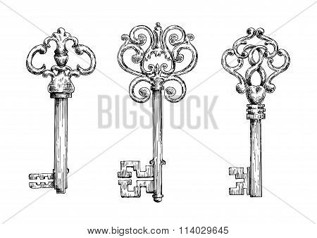 Sketches of vintage keys with forged elements