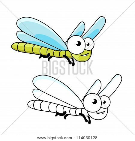 Funny cartoon green dragonfly insect