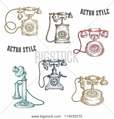 Vintage sketched handle telephone icons