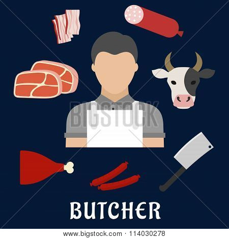 Butcher shop and meat flat icons