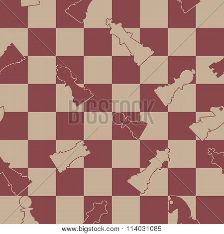 Seamless Background Of Chess, Vector Illustration.