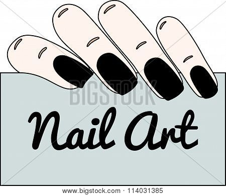 Nail Art. Gothic Manicure. Vector Illustration.