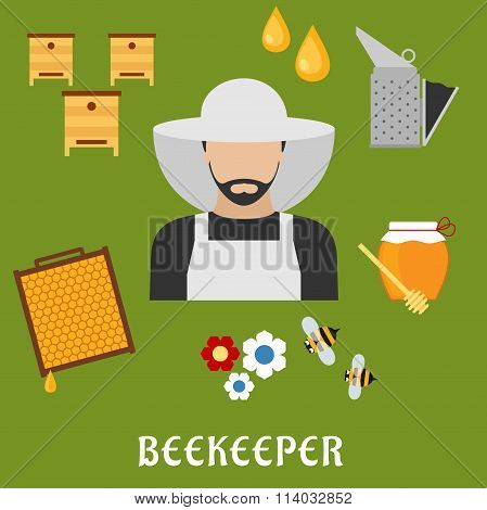 Beekeeper profession and beekeeping flat icons