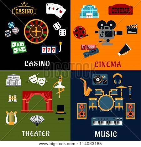 Casino, music, cinema and theater icons