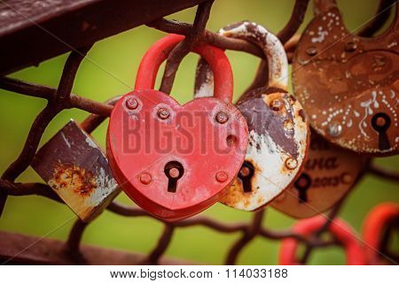 Love Red Heart-shaped Padlock Locked On Iron Chain