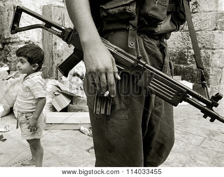 Israeli Soldier with Arab Child, Jerusalem