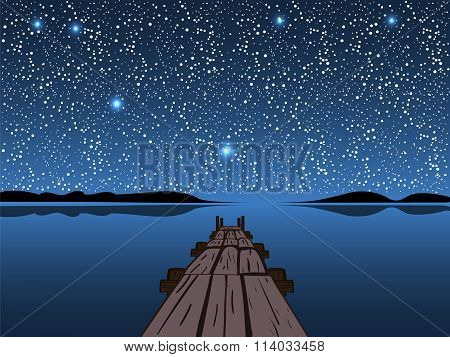 Night lake starry sky