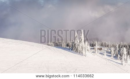 Skiing above the tree line at Sun Peaks