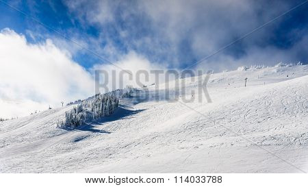 Wide open ski-able snowfields