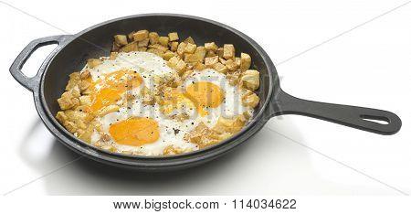 Potato Omlette in Iron Pan