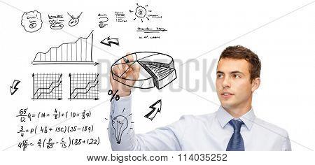 buisnessman drawing plan on virtual screen