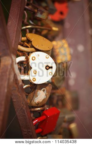 Beautiful White Heart-shaped Padlock Locked On Iron Chain