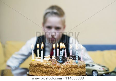 Sad Boy With Cake On His Birthday
