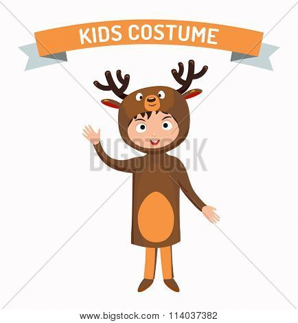 Deer kid costume isolated vector illustration. Kids party costume vector isolated. Children party costume. Kids costume