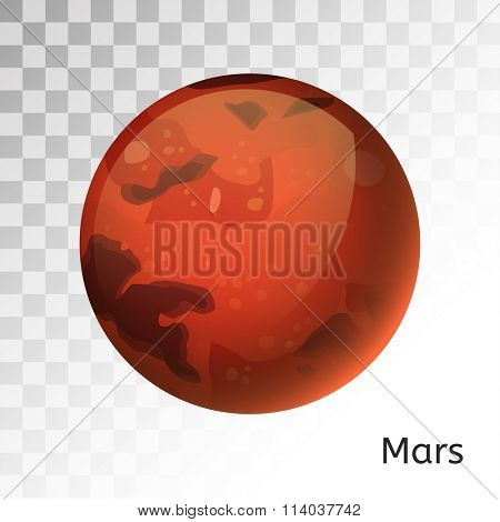 Mars planet 3d vector illustration. Globe Mars texture map. Globe vector Mars view from space. Mars illustration. Vector Mars planet. Mars planet silhouette, world map, 3d Mars