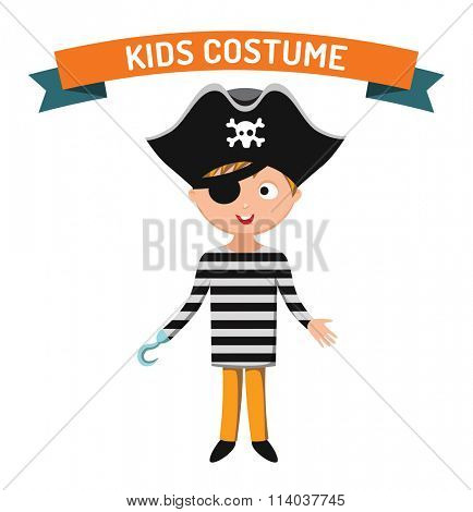 Pirate kid costume isolated vector illustration. Kids party costume vector isolated. Children party costume. Kids costume