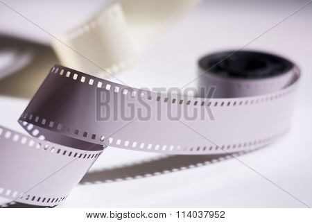 Close-up Reel With A Negative Film. Copy Space For Announcement Of Films