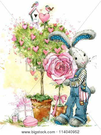 Cute bunny rabbit. Valentines day card. Valentines love Tree. Watercolor bunny rabbit illustration.