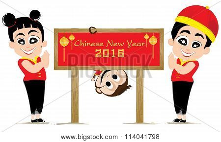 Chinese New Year of Monkey and teens  isolated on white background. Vector Monkey and teens in Chine