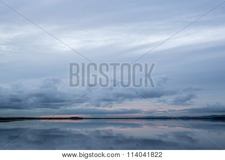 Cloudy Sunset Reflection, San Francisco Bay, California