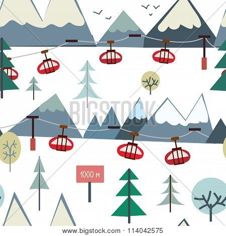 Ski Sport And Mountains Seamless Pattern With Trees And Elevators
