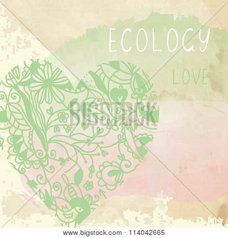 Ecology Background With Floral Heart And Paper Texture -  Illustration