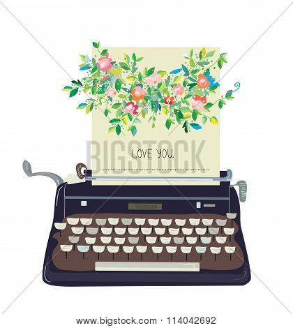 Love You Card With Typewriter And Flower - Conceptual Illustration